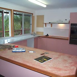 Before - pink laminate and late 80's style