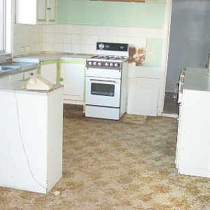 the carpeted kitchen