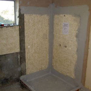 Shower area - waterproofed and hob