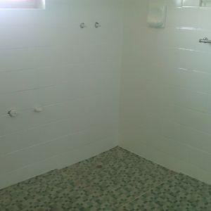 After bathroom tile resurfacing